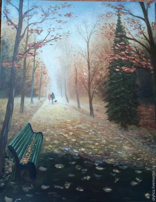 Пейзаж ручной работы. Ярмарка Мастеров - ручная работа. Купить Осень. Handmade. Оранжевый, природа, двое, скамейка, картина в подарок