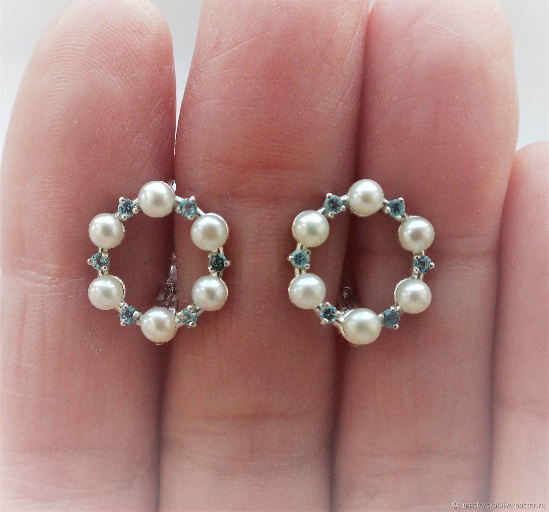 Earrings 'Velia' - pearls, Topaz, silver, Earrings, Moscow,  Фото №1