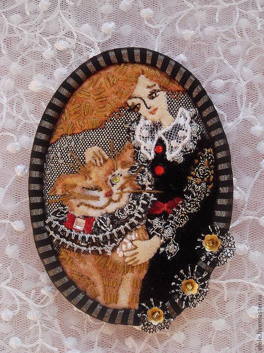 Броши ручной работы. Ярмарка Мастеров - ручная работа. Купить Брошь Чеширский кот. Handmade. Рыжий, текстильная брошь, лён