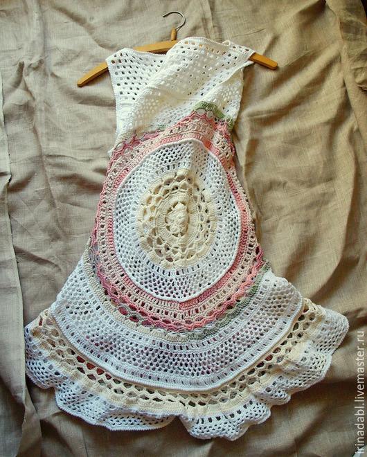 Пляжные платья ручной работы. Ярмарка Мастеров - ручная работа. Купить Пляжное платье Сливки. Handmade. Разноцветный, бежевый, хлопок