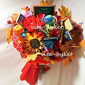 Цветы и флористика ручной работы. Ярмарка Мастеров - ручная работа Букет из конфет на день учителя! С макетом школьной доски, букварем. Handmade.