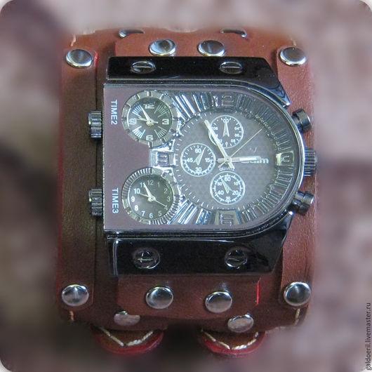 Часы ручной работы. Ярмарка Мастеров - ручная работа. Купить Часы наручные брутальные. Handmade. Коричневый, кожа натуральная