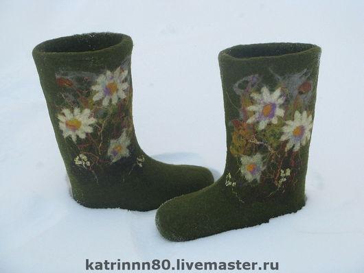 """Обувь ручной работы. Ярмарка Мастеров - ручная работа. Купить Валенки """"Ромашки..."""". Handmade. Тёмно-зелёный, шерсть 100"""
