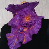"""Аксессуары ручной работы. Ярмарка Мастеров - ручная работа Валяный шарф-горжетка """"Фиолетовый"""". Handmade."""
