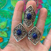 Украшения handmade. Livemaster - original item Set with natural lapis lazuli. Silver plated.. Handmade.