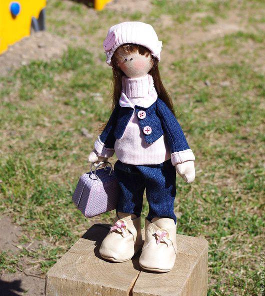 Человечки ручной работы. Ярмарка Мастеров - ручная работа. Купить Куколка Васёна. Handmade. Комбинированный, саквояж, кукольная миниатюра, девочка