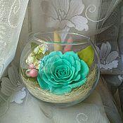 Для дома и интерьера ручной работы. Ярмарка Мастеров - ручная работа Интерьерная роза в стеклянной вазе. Handmade.