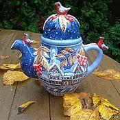 """Посуда ручной работы. Ярмарка Мастеров - ручная работа Большой керамический заварочный чайник """"Рождественская ночь"""". Handmade."""