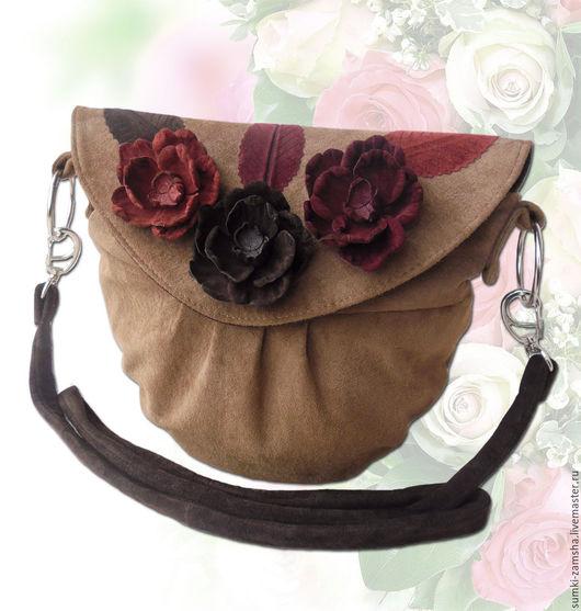 сумка из замши, сумка с аппликацией, бежевая сумка, сумка через плечо, маленькая сумка, сумка из кожи, замшевая сумка, кожаная сумка, сумка с декором, сумка с цветами, сумка летняя