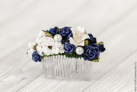 Свадебные украшения ручной работы. Ярмарка Мастеров - ручная работа. Купить Гребень невесты Синяя цветочная заколка Украшение для волос Ночь. Handmade.