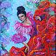 Люди, ручной работы. Ярмарка Мастеров - ручная работа. Купить Картина-панно из шерсти Фламенко по картине Сильвы Залмансон. Handmade.