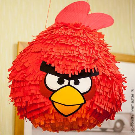 Праздничная атрибутика ручной работы. Ярмарка Мастеров - ручная работа. Купить Пиньята  «Angry Birds» Красный - стандарт. Handmade.