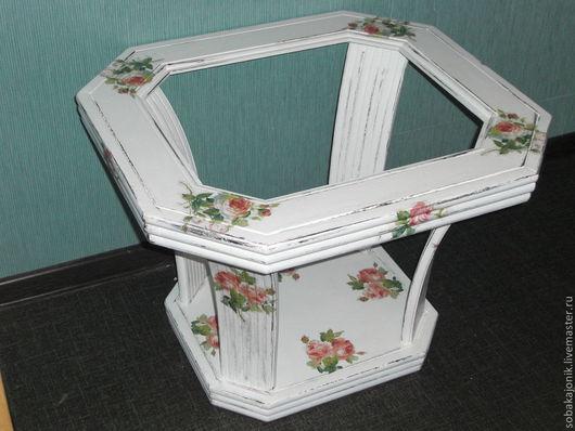"""Декор поверхностей ручной работы. Ярмарка Мастеров - ручная работа. Купить журнальный столик """"Бэль"""". Handmade. Белый, столик"""