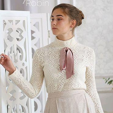 Одежда ручной работы. Ярмарка Мастеров - ручная работа Водолазка ажурная из шерсти Морозная. Handmade.