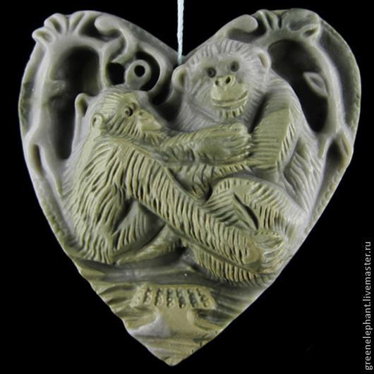 """Для украшений ручной работы. Ярмарка Мастеров - ручная работа. Купить Кулон """"Любовь двух обезьянок"""". Handmade. Яшма, обезьяна"""