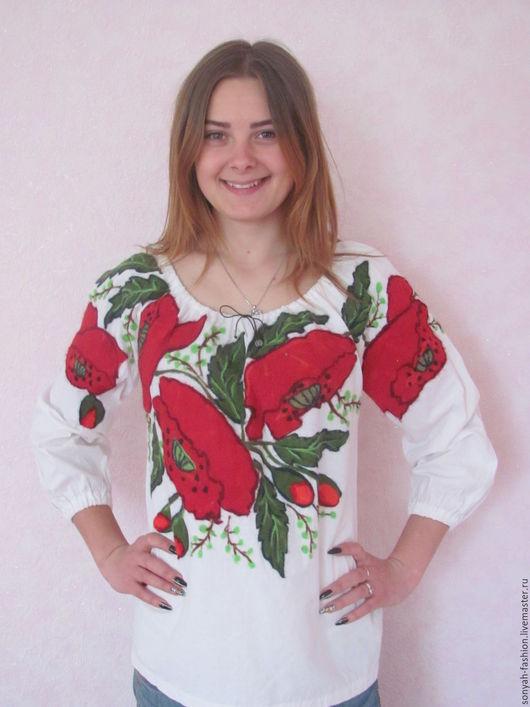 """Блузки ручной работы. Ярмарка Мастеров - ручная работа. Купить Блузка валяная вышиванка """"Маков цвет"""". Handmade. Ярко-красный"""