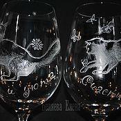 Бокалы ручной работы. Ярмарка Мастеров - ручная работа Новогодние бокалы-поздравление. Handmade.