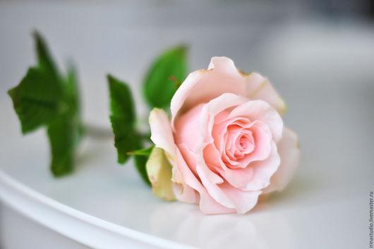 Цветы ручной работы. Ярмарка Мастеров - ручная работа. Купить Роза из полимерной глины. Handmade. Бледно-розовый, интерьер