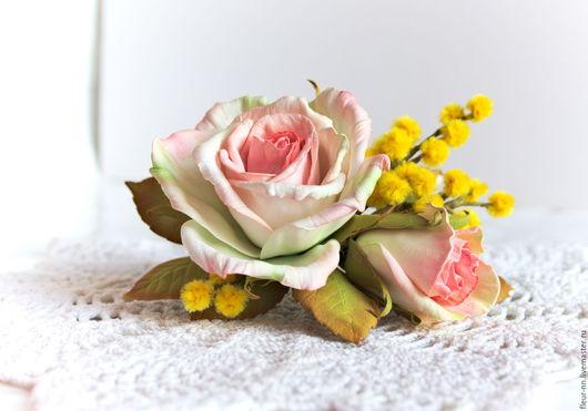 Заколки ручной работы. Ярмарка Мастеров - ручная работа. Купить Композиции с розами и мимозой.. Handmade. Бледно-розовый, фоамиран