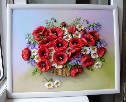 Картины цветов ручной работы. Ярмарка Мастеров - ручная работа. Купить Картина вышитая лентами Корзина с маками. Handmade. Комбинированный