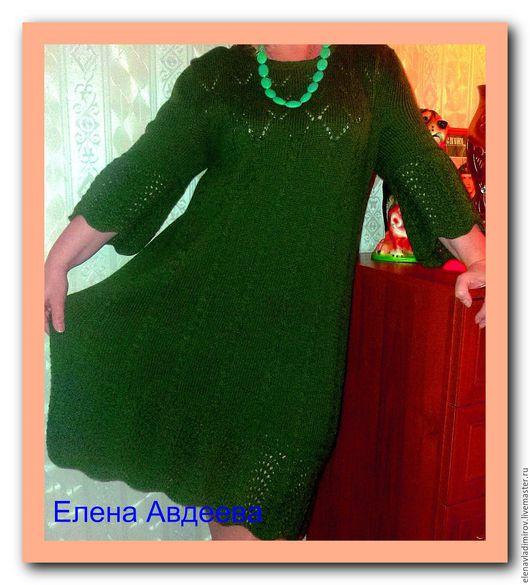 Платья ручной работы. Ярмарка Мастеров - ручная работа. Купить Вязанное платье Гимназистка 3. Handmade. Тёмно-зелёный