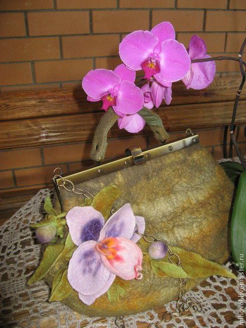 Женские сумки ручной работы. Ярмарка Мастеров - ручная работа. Купить Сумка с орхидеей. Handmade. Оливковый, сумка валяная