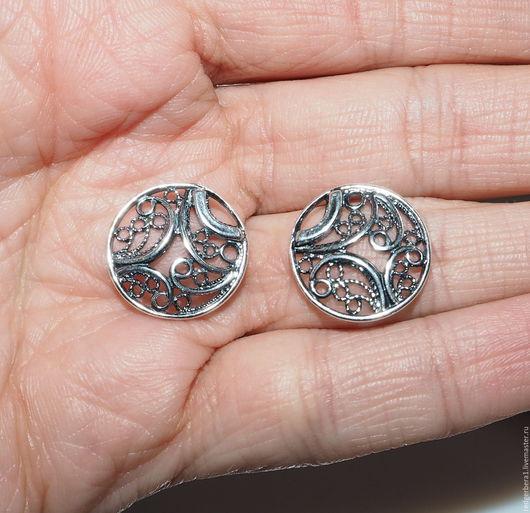 Для украшений ручной работы. Ярмарка Мастеров - ручная работа. Купить Коннектор круглый ажурный--мельхиор серебрение 925 пробы. Handmade.
