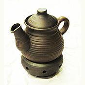 Посуда ручной работы. Ярмарка Мастеров - ручная работа Чайник глиняный с печкой-подсвечником. Handmade.