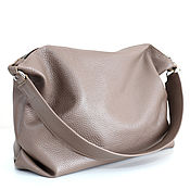 Сумки и аксессуары handmade. Livemaster - original item Bag Shoulder Bag Leather Beige Taupe Cappuccino Hobo Trunk Bag. Handmade.