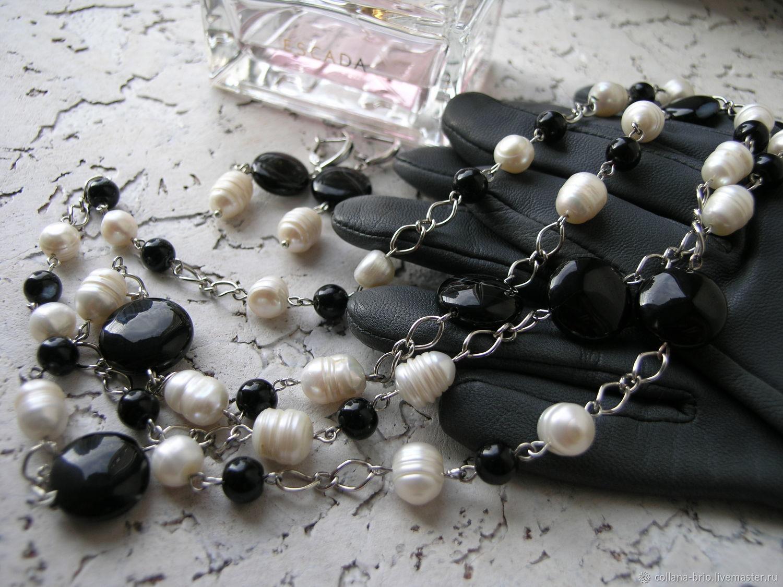 beads: Beads, earrings 'cinema' Pearls Onyx, Beads2, Samara,  Фото №1