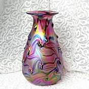 Винтаж handmade. Livemaster - original item Iridescent vase,Bohemia,Czech Republic,iridescent glass,collectible,gift. Handmade.