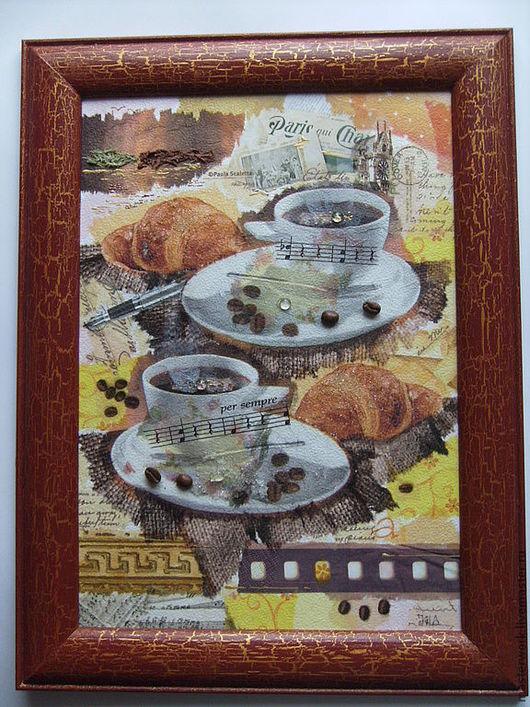 Символизм ручной работы. Ярмарка Мастеров - ручная работа. Купить Коллаж с элементами ддекупажа, Французский завтрак. Handmade. Коричневый, коллаж