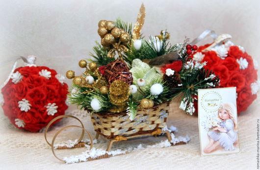 Новогодние плетеные саночки, припорошенные снегом .Работа Покусаевой Марины (Romashka)