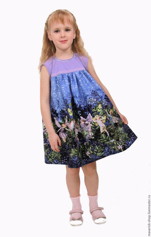 Одежда для девочек, ручной работы. Ярмарка Мастеров - ручная работа. Купить Детское платье с сиреневыми феями рост 110-116 см. Handmade.