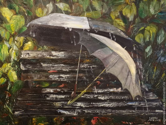 Пейзаж ручной работы. Ярмарка Мастеров - ручная работа. Купить Двое под дождем (зонтики). Handmade. Разноцветный, зонтики, кисти