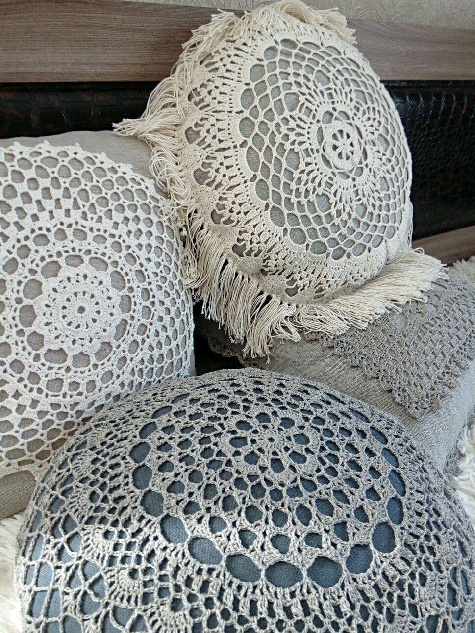 Подушки вязаные льняные круглые и квадратные, Подушки, Кострома,  Фото №1