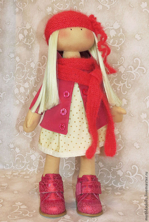 Человечки ручной работы. Ярмарка Мастеров - ручная работа. Купить Девочка-Вишенка текстильная кукла. Handmade. Брусничный, подарок