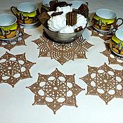 """Для дома и интерьера ручной работы. Ярмарка Мастеров - ручная работа Комплект салфеток """"Шоколадный"""". Handmade."""