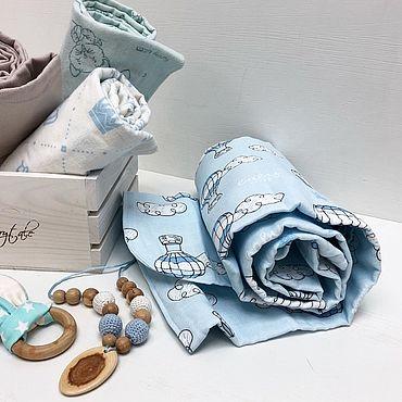 Товары для малышей ручной работы. Ярмарка Мастеров - ручная работа Подарочный набор: Плед+пеленки+грызунок. Handmade.