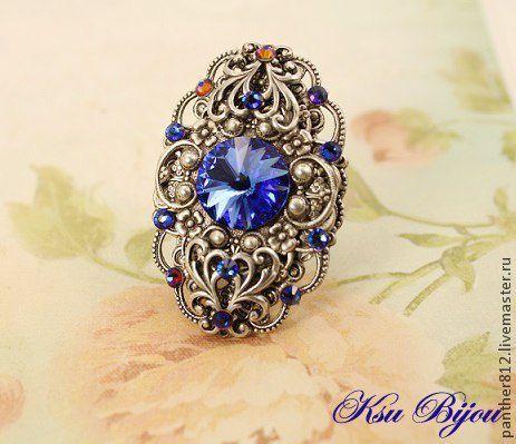 """Кольца ручной работы. Ярмарка Мастеров - ручная работа. Купить Винтажное кольцо """"Миледи"""". Handmade. Синий, кольцо с камнем"""