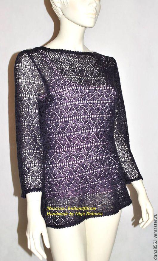 Ажурная блуза. Блуза спицами. Яркая нарядная блуза из кид-мохера. Пряжа производства Италия. Кофточка вязанная спицами. Цвет темно-фиолетовый. Кофточка из тонкого мохера.