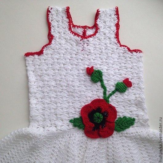 """Одежда для девочек, ручной работы. Ярмарка Мастеров - ручная работа. Купить Платье детское вязаное крючком хлопковое  """"МАКИ"""". Handmade."""