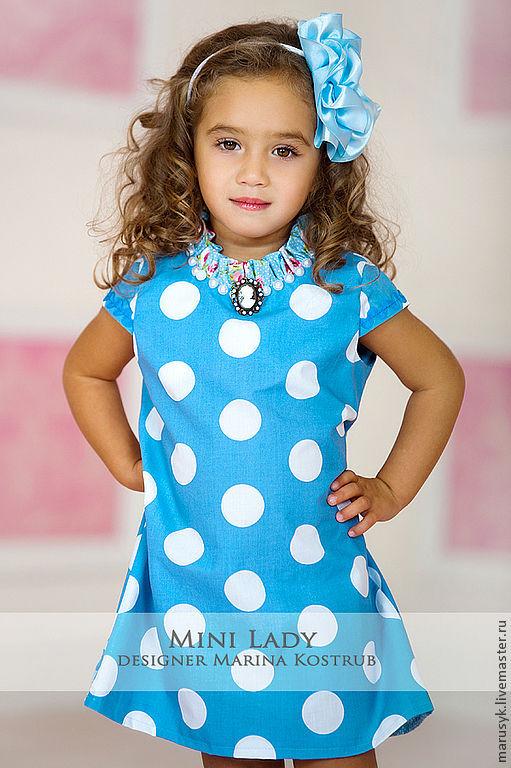 Одежда для девочек, ручной работы. Ярмарка Мастеров - ручная работа. Купить Платье - веселые горохи-аква. Handmade. Голубой