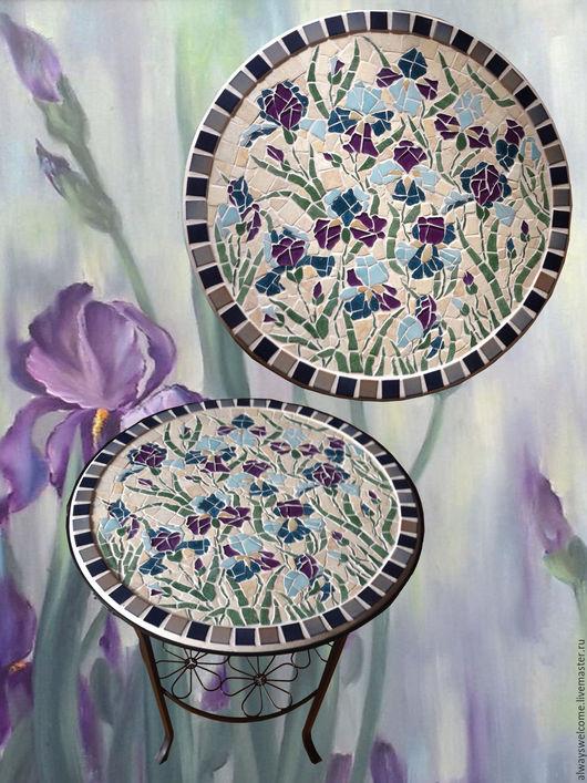 """Мебель ручной работы. Ярмарка Мастеров - ручная работа. Купить Столик """"Ирисы"""". Handmade. Мозаика, фиолетовый цветок, фуксии, подарок"""