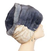 Аксессуары handmade. Livemaster - original item Beige-blue cap made of natural mink fur. Handmade.