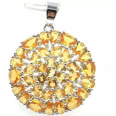 Materials for creativity handmade. Livemaster - original item Silver pendant with citrines. Handmade.
