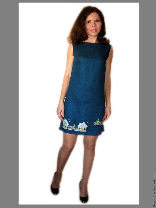 """Платья ручной работы. Ярмарка Мастеров - ручная работа. Купить Платье хлопковое с ручной вышивкой """"Декабрь"""". Handmade. Тёмно-синий"""