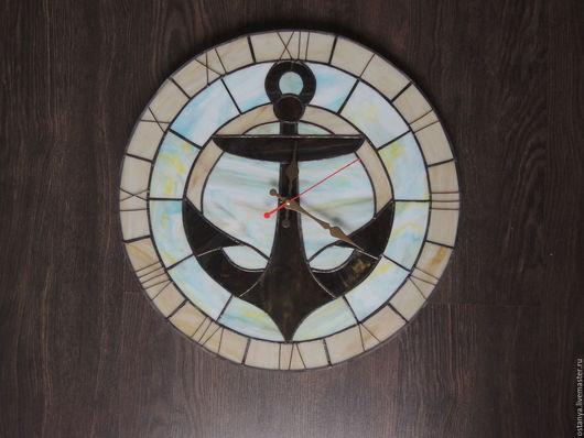 """Часы для дома ручной работы. Ярмарка Мастеров - ручная работа. Купить Часы настенные из стекла """" Попутный ветер"""". Handmade."""
