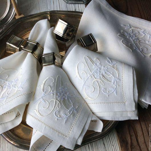 Текстиль, ковры ручной работы. Ярмарка Мастеров - ручная работа. Купить Салфетка скатерть с вышивкой - Флер в белом М и А. Handmade.