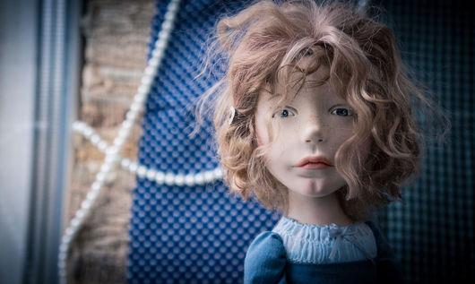 Коллекционные куклы ручной работы. Ярмарка Мастеров - ручная работа. Купить Спросонок. Handmade. Синий, хлопок